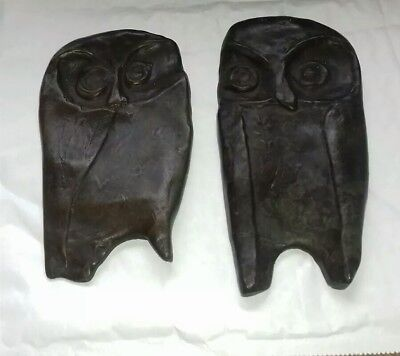 Bronze Modernist Owl Plaques Pair, Picasso Style.
