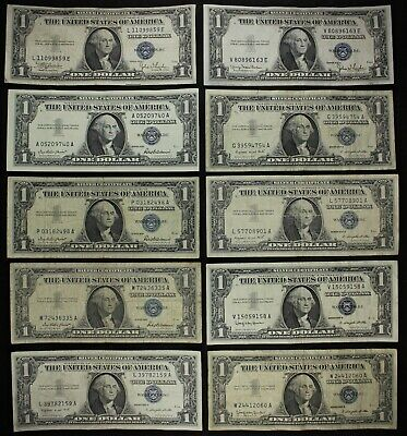 Ten $1 1935, 1957, A & B silver certificates one dollar FREE SHIPPING $10 Face