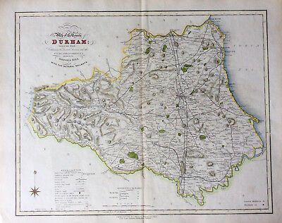 Scarce Map of DURHAM county c1838 by Ebden & James Duncan, Original antique map
