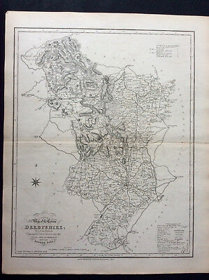 100% Original County Map of DERBYSHIRE c1838 by Ebden & J Duncan, Scarce Antique