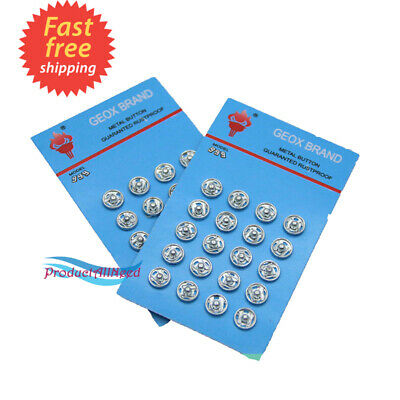 200 Silver Tone Metal Press Studs Buttons Card 10MM Snap Closing Fasteners Dress