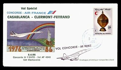Dr Who 1986 Morocco Casablanca To Clermont-Ferrand Concorde First Flight C82291