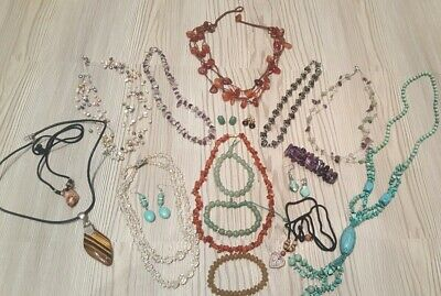 Collection Of Vintage Costume  &semi Precious Stone Jewellery Mixed Lot
