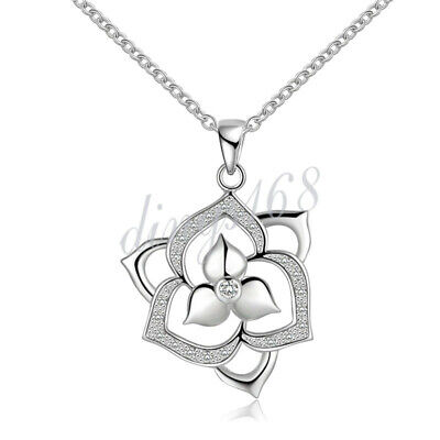 Triple Flower Crystal 925 Stamped Sterling Silver Pendant Jewelry D532