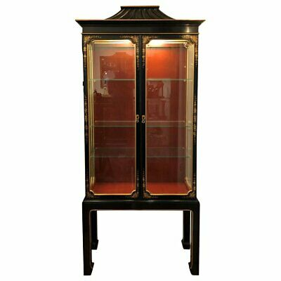 Chinoiserie Lacquer Display Cabinet, Lighted Vitrine, Mid Century