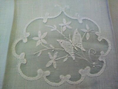 """Beautiful Butterfly Madeira Embroidered White Linen Hand Towel 19 1/4 x 13"""""""