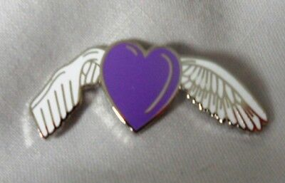 Dementia Remembrance Angel Awareness ribbon enamel purple badge / brooch.Charity