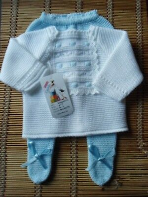 Bnwt Spanish Baby White And Blue Details 3Pc Fine-Knit Outfit-00M