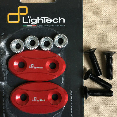 LighTech Mirror Block Off Plates Kawasaki ZX6R 2003-2004 Mirror Cover Red Caps