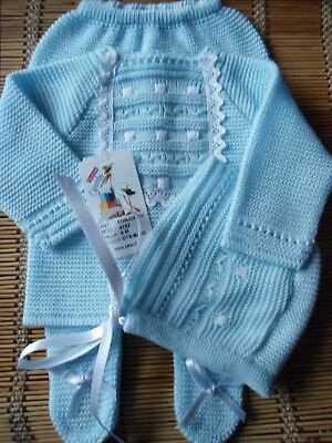 Bnwt Spanish Baby Blue And White Details-3Pc-Fine-Knit-Outfit-00M