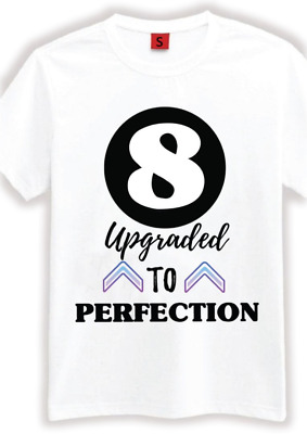8 AGED PERFECTION T SHIRT 8TH BIRTHDAY GIFTS PRESENTS FOR YEAR OLD BOYS GIRLS
