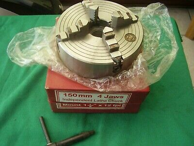 """HBM 150mm 4 jaws independant lathe chuck Boxed Mount 1.1/8"""" x 12 TPI VGC LOOK!"""