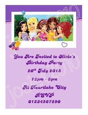Personalised Lego Friends Birthday Party Invitations