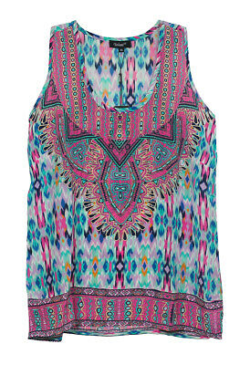 ab3f075959e283 Tolani Pink Multi Vikki Silk Tank Sleeveless Blouse Shirt Top Apparel S New