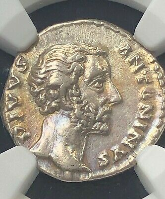 Roman Empire Antoninus Pius AD 138-161 Silver Denarius NGC XF Beautiful toning