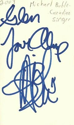 Michael Buble Canadian Singer Music Autographed Signed Index Card JSA COA