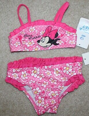 8bac9843c9757 Girls Disney Minnie Mouse 2 pc Swimsuit (Bikini Ruffles  Pink)