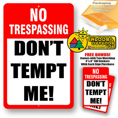 Do Not Tempt Me Warning No Trespassing Home Yard Sign Tin Metal Novelty Gifts