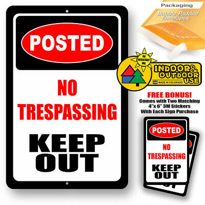 Keep Out Posted No Trespassing Warning Home Yard Sign Tin Metal Novelty Gifts