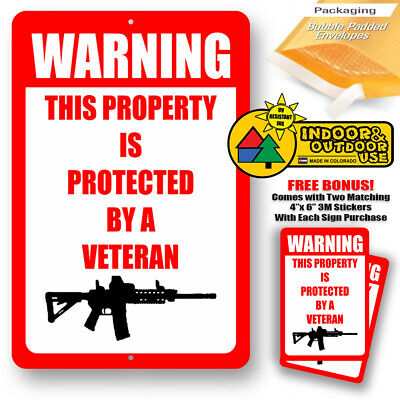 No Trespassing This Property Is Protected By A Veteran Sign Metal Tin Novelty