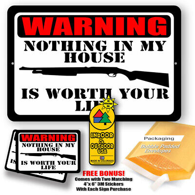 Warning Shotgun Trespassing Nothing In My Ho Is Worth Your Life Sign Metal Tin