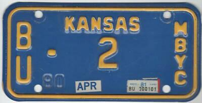 MBYC Motorized Bicycle Tag Low Number 2 Kansas License Plate 1980