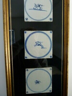 Antique Delft Tile circa 1750 Hand Made in Holland Three Framed Tiles