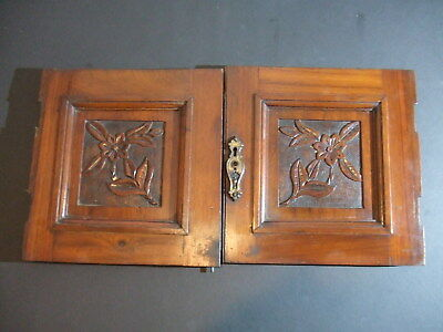 Pair of Antique Floral Cabinet Panel Doors Antique Carved Wood Salvage Furniture