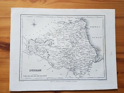 19th Century Engraving Map Of Durham Lewis Topographical Dictionary