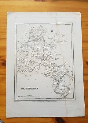 19th Century Engraving Map Of Oxfordshire  Lewis Topographical Dictionary