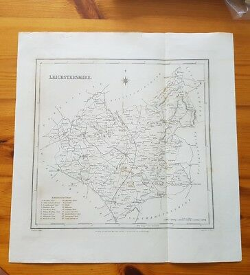 19th Century Engraving Map Of Leicestershire Lewis Topographical Dictionary