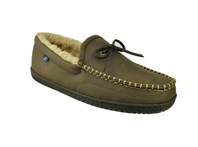 George Men's Brown Tie Trapper Moccasin Loafer Slippers Shoes: S-XL