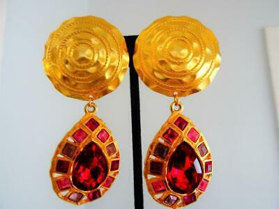 """Vtg 80S Graziano Rich Gold 3.2"""" Pink Ruby Glass Jeweled Etruscan Runway Earrings"""