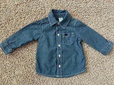 Cute Blue Shirt Size 9 Months By Carters In Excellent Condition!