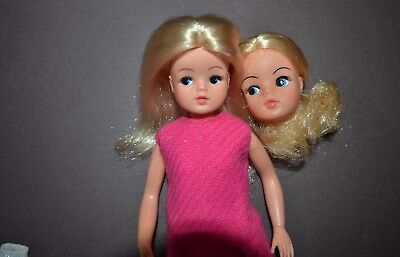 Vintage Blonde Sindy Posable Doll in Pink, Rooted Lashes with Extra Head, Tights