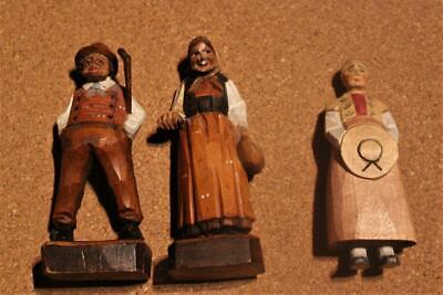 Vintage Collection Of 3 Hand Carved Black Forest Country Folk Figures Circa 1950