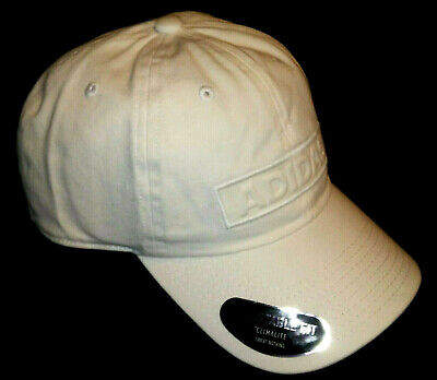 New ADIDAS CLIMALITE Mens Baseball Cap GOLF Hat WHITE Embroidered Adjst Fit NWT