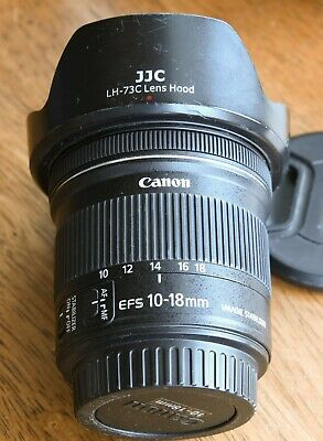Canon EF-S 10-18mm F/4.5-5.6 IS STM Lens box ultra wide architecture LH-73C hood