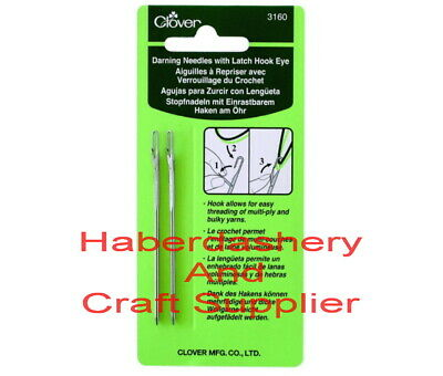 Clover Darning Needles With Latch Hook Eye 2 Pack 3160