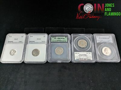 Lot Of 5 Us Assorted Graded Coins With Some Silver #28173