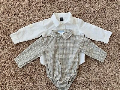 Janie And Jack Beige Preowned Shirt And Baby Gap White shirt Size 12-18 Months!