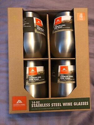 OZARK TRAIL Stainless Steel Wine Glasses (14 oz) 4 pack Double-wall Vacuum Seal