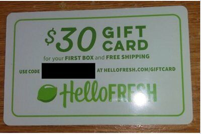 HELLO FRESH $30 Gift Card (First box with free shipping) NEW