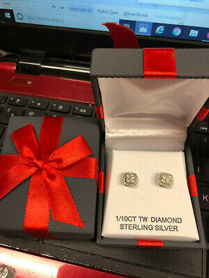 DIAMOND STUD EARRINGS Sterling Silver 1/10 CTTW Brand New  GIFT