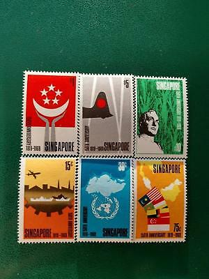 Singapore 1819-1969 150th Anniversary 15¢-$10 Stamps. Mint Never Hinged - RARE