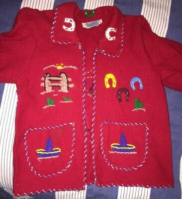 Vintage Lopez Hand embroidered Wool Mexican Children's Jacket 4T/5T Exc! Red