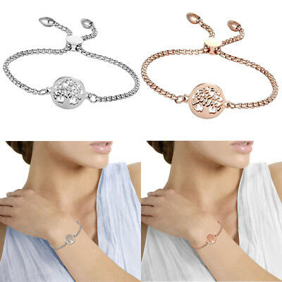 Women's Stainless Steel Freely Adjustable Charm Hollow Tree Bracelet Chain IN US