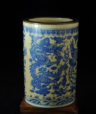 China Collection Blue-and-white Dragon And Phoenix Brush Pot /xuande Mark B02