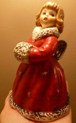 """Goebel Christmas Angel Red Porcelain Bell 6"""" Tall 1979 West Germany #5719215"""