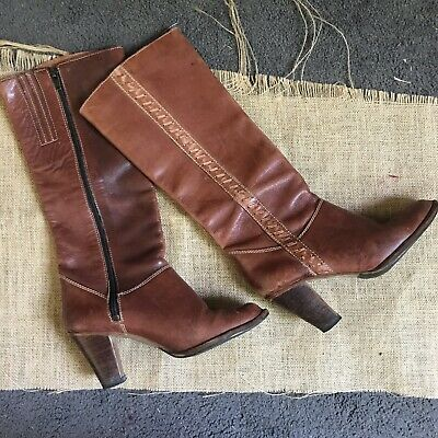 Vintage Red Brown Leather Knee High Boots Sz 7